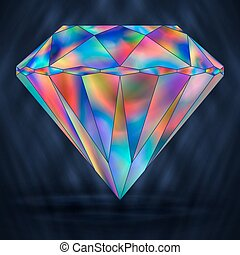 Sign Colorful Rainbow Crystal Gemstone.