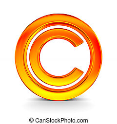 sign copyright on white background. Isolated 3D image