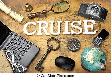 Sign Cruise, Laptop, Key, Globe, Compass, Phone, Camera, Letter, Magnifier