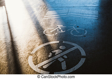 sign cyclist and pedestrian ban on the background of asphalt road.