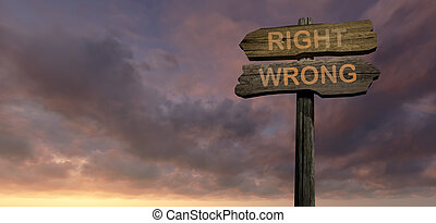 sign direction right - wrong made in 2d software