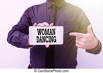 Conceptual caption Woanalysis Dancing, Business idea confident that dances gracefully and professionally Presenting New Technology Ideas Discussing Technological Improvement