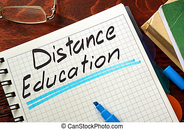 distance education - Sign distance education written in a...