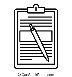 Sign document icon, outline style