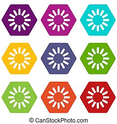 Sign download icon set color hexahedron