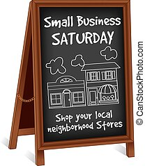 Small Business Saturday sidewalk chalk board sign, wood frame easel with brass chain, slate background with text to support local neighborhood stores. EPS8 compatible.
