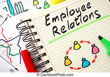 Sign employee relations on a page of notebook.