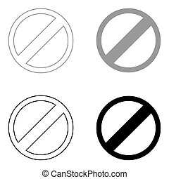 Sign entry prohibited   the black and grey color set icon .