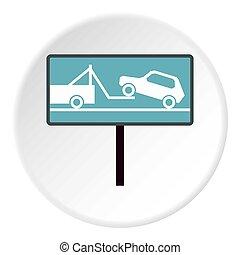 Sign evacuation of cars to impound yard icon