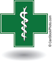 sign for a pharmacy with a cross and snake vector...