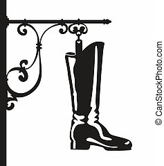 sign for a shoemaker in the shape of a boot
