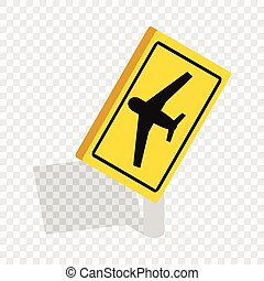 Sign for beware airplane isometric icon