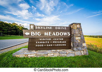 Sign for Big Meadows, along Skyline Drive, in Shenandoah...