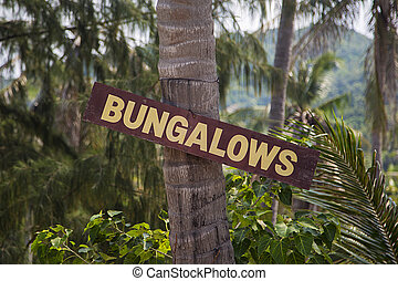 Sign for bungalows in Thailand