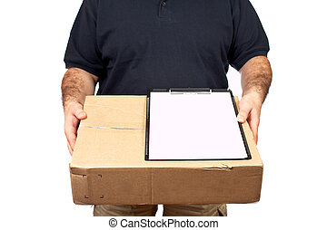 Sign for delivery - Courier delivering a package and holding...