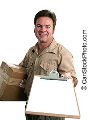 Sign For Delivery - a delivery man bringing a package and...