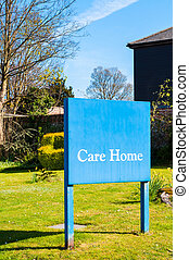 Sign for elderly people 'Care Home' at the entrance of a Suffolk