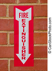 Sign for Fire Extinguisher - Sign pointing downward to...