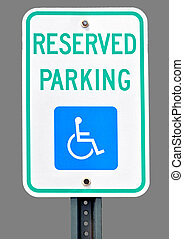 Sign for handicap parking accommodation.