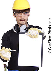 sign for manual work - construction worker holding clipboard...