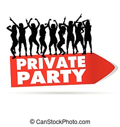 sign for private party with girl silhouette vector