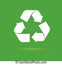 sign for recycling vector on a green
