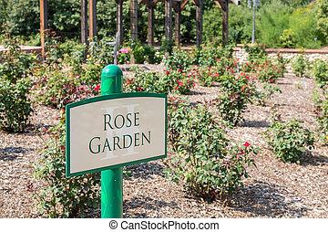 Sign for Rose Garden