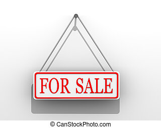 """Sign \""""for sale\"""". 3d"""