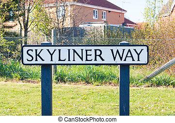 Sign for Skyliner Way in Bury St Edmunds, UK
