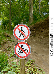 Sign forbidden for bicycles and pedestrians