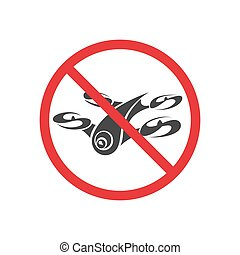 Sign forbidding flight drone on a white background. Vector...