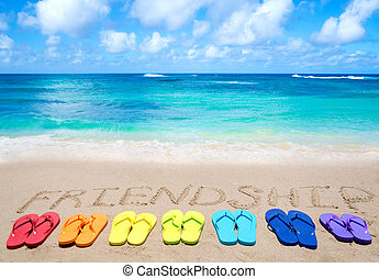 """Sign """"Friendship"""" and color flip flops on sandy beach by the..."""