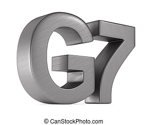 sign G7 group on white background. Isolated 3D illustration