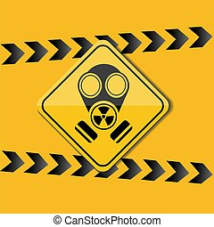 Sign gas mask, warning on a yellow background