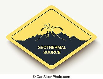 sign geothermal source and energy. - icon geothermal source...