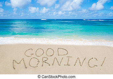 """Sign """"Good morning"""" on the beach"""