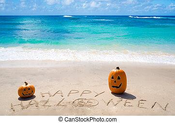 """Sign """"Happy Halloween"""" with pumpkins"""