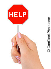 Sign Help in hand