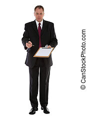 Businessman offering a blank document and a pen for a signature, isolated on a white background.
