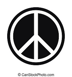 Sign hippie peace icon, simple style