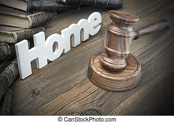 Sign Home, Judges Gavel And Old Book On Wood Table