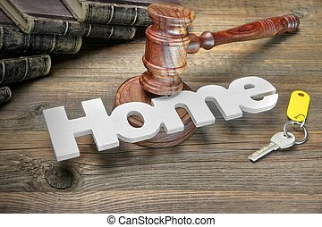 Sign Home, Door Key, Judges Or Auctioneer Gavel And Old Law Book On The Wood Table. Concept For Trial, Bankruptcy, Tax, Mortgage, Auction Bidding, Foreclosure Or Inherit Real Estate