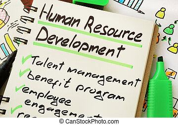 Sign human resource development on a page of notebook.
