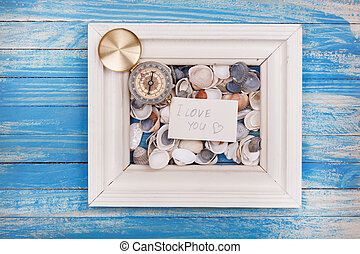 Sign I love you and Compass in a white frame - Vintage style