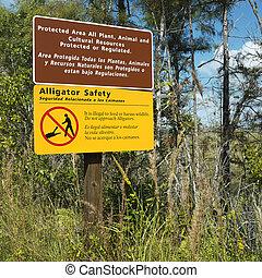 Sign in Florida Everglades.