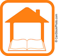 yellow sign in frame with home and open book