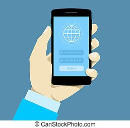 Sign in page on smartphone screen. Hand hold smartphone. Mobile account. Personal data security. Concept for web banners,  sites, infographics.