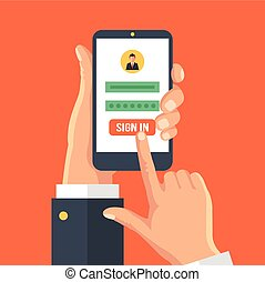 Sign in page on smartphone screen. Vector flat illustration