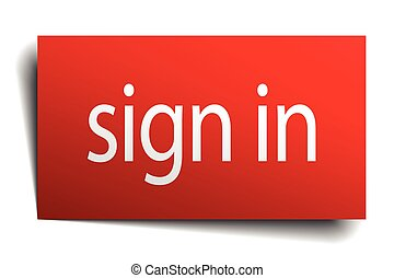sign in red paper sign isolated on white