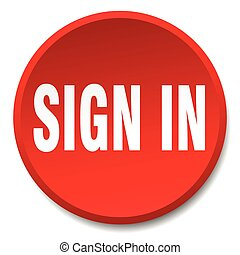 sign in red round flat isolated push button